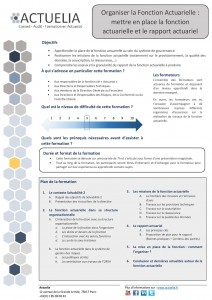 Organiser la Fonction Actuarielle mettre en place la fonction actuarielle et le rapport actuariel